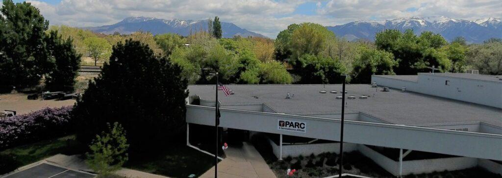 Drone image outside PARC Building