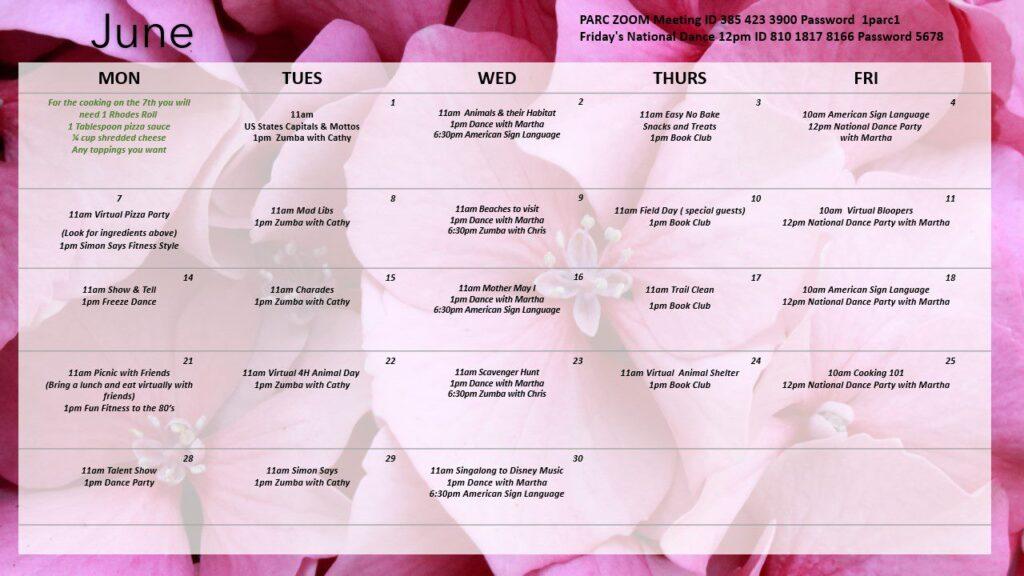 Calendar of June 2021 virtual activities